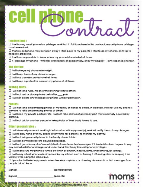 signing a cell phone contract free printable