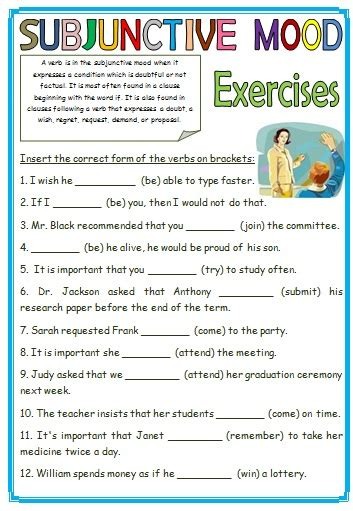 Verb Moods Worksheet by Subjunctive Mood Exercises