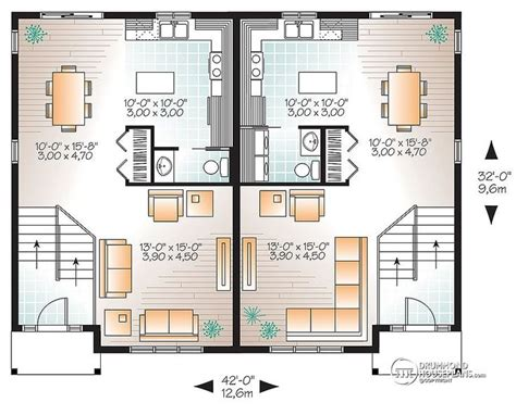 Home Design For Extended Family Multi Family Plan W3062 Detail From Drummondhouseplans
