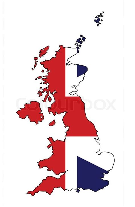 United Kingdom Outline Flag by Outline Map Of The United Kingdom Of Scotland Northern Ireland And Wales Within A Union