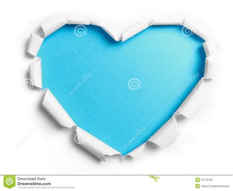 white torn paper with heart shape stock photo image