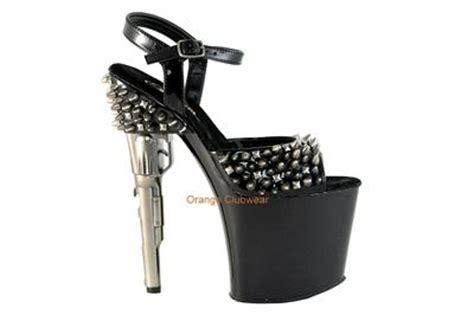 gun high heels pleaser studded metal spike gun shaped high heels