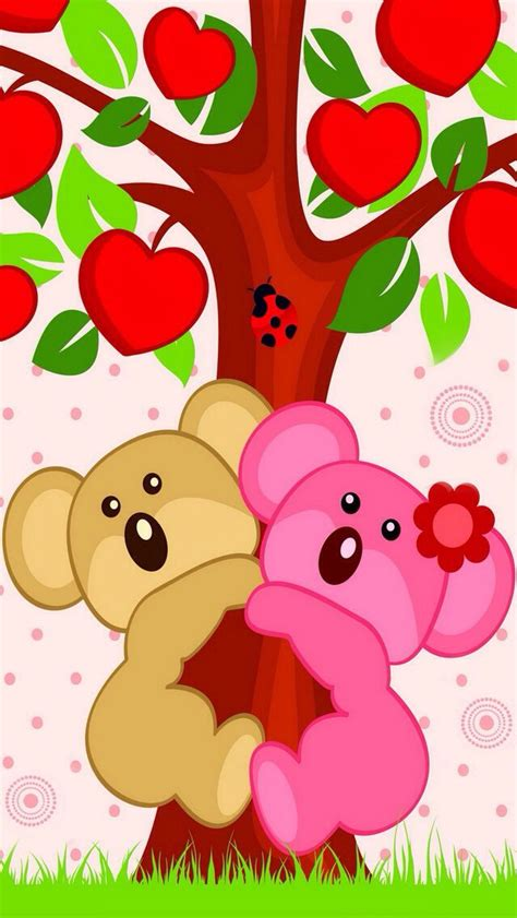cute themes in cellphone cute bears in apple tree iphone mobile cell phone