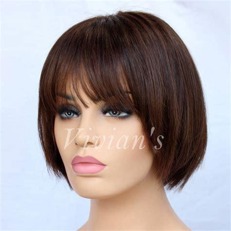 brazilian hair treatment with short hair 7a brazilian short remy human hair wigs bangs mono silk