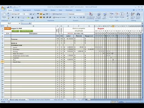 sle project schedule template construction cost to complete using excel