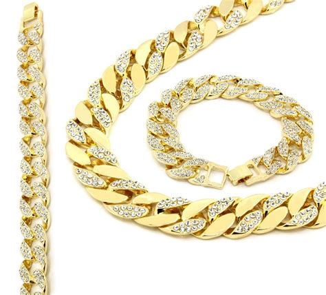 jewelry gold chain 14k gold finish iced out hip hop cz chain bracelet mens