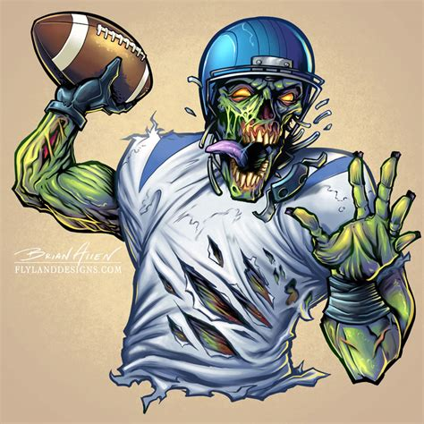 design art zombie zombie sports football mascot character design flyland