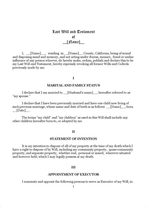 california last will and testament template california last will and testament form 1 for