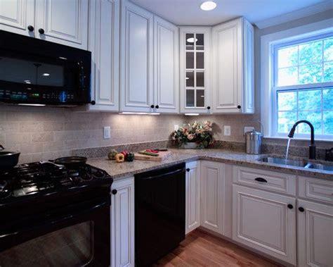 white kitchen  black appliances design pictures