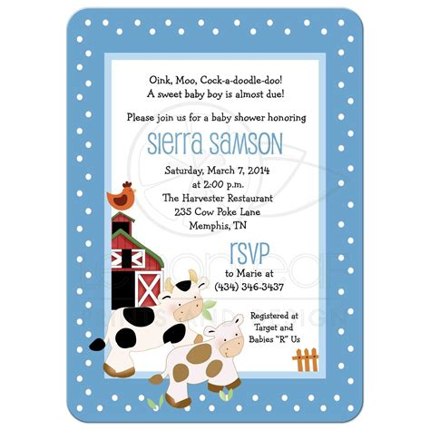 Cow Baby Shower by Farm Theme Moo Cow Blue Boy Baby Shower Invitations