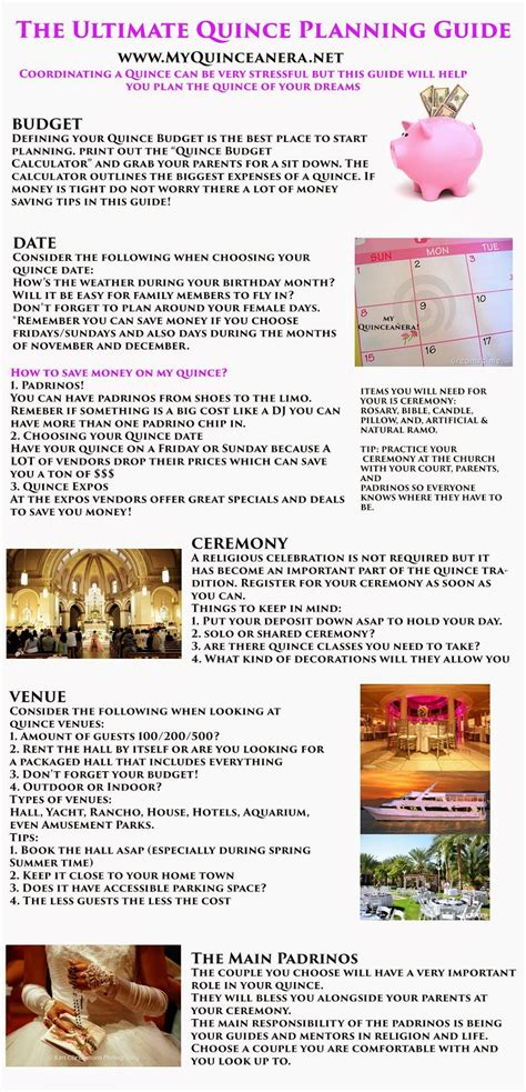 printable quinceanera planning guide my quincea 241 era planning guide