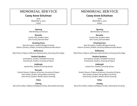 9 best images of free printable memorial program template