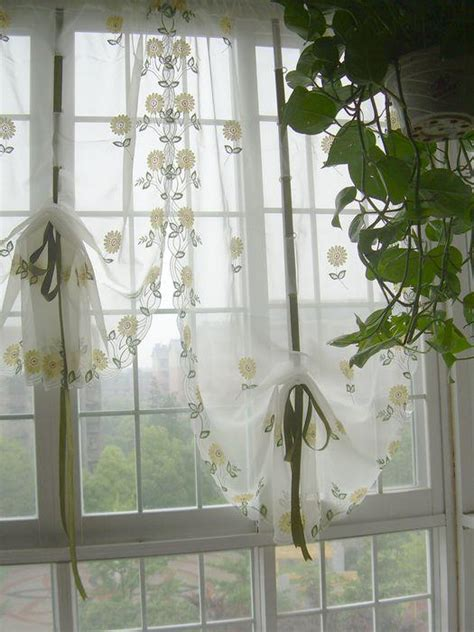 french country cafe curtains french country embroidered balloon shade sheer voile cafe