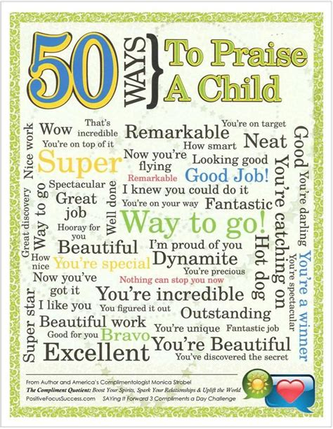 take a compliment 50 posters to pin and 50 ways to praise a child your words are powerful