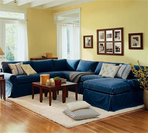 pottery barn sectional denim just beachy