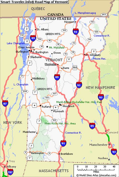 road map of vt map of vermont