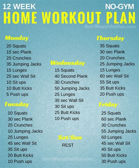 home workout plan 12 week no gym home workout plans military diet