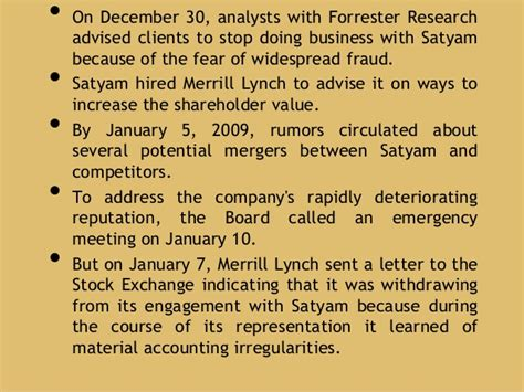 Withdrawing Representation Letter Satyam Fiasco Presentation