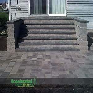 versa lok monumental steps lead from mid level patio door
