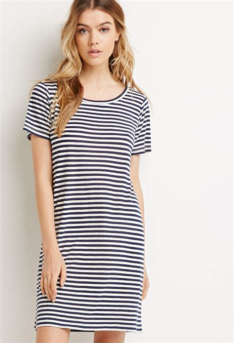 7 Striped Tops I by Lyst Forever 21 Striped T Shirt Dress In Blue
