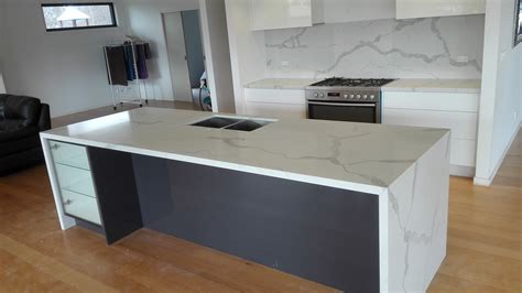 Install Kitchen Island Calacatta Quartz Stone Kitchen Install Engineered Stone