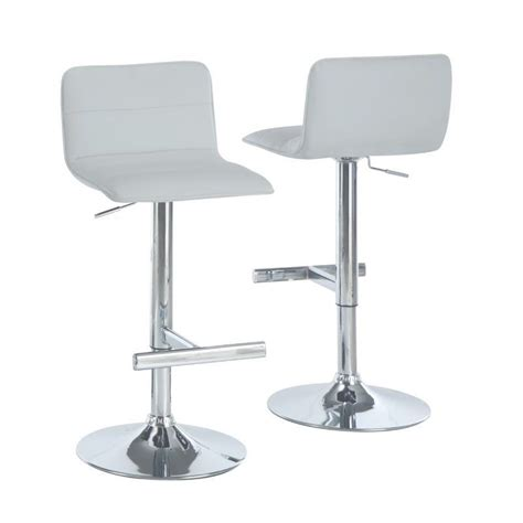 Monarch 28 Quot Hydraulic Lift Bar Stool In White And Chrome