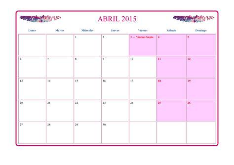 Calendario De Abril 2015 Calendario Abril 2015