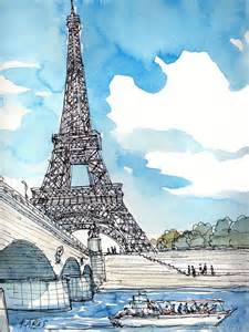 eiffel tower print from an original watercolor painting watercolors
