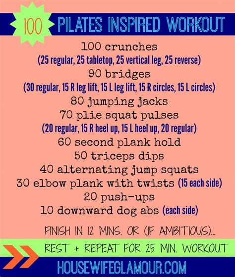 100 at home pilates inspired workout in