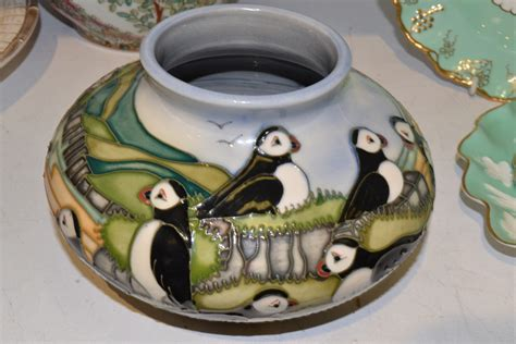 Moorcroft Puffin Vase by A Moorcroft Pottery Puffins Pattern Squat Baluster