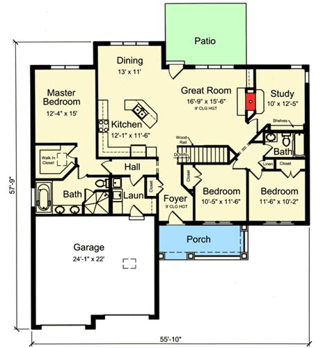 split floor plan one story split bedroom house plan 39225st
