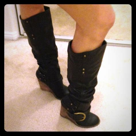 cathy jean price drop black buckle wedge boots from