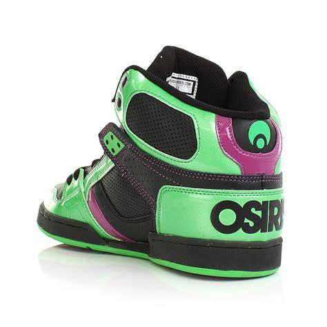 osiris high top shoes for trainers shoes mens osiris nyc83 lime black purple hi top