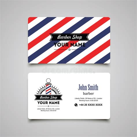 hair salon barber shop business card design template stock