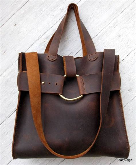 Handmade Leather Bag - mustang cowhide leather rustic harness bag by