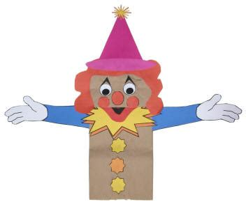 How To Make A Paper Clown - clown paper bag puppet