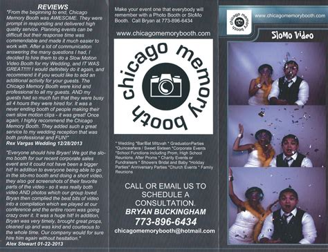 Chicago Slo Mo Booth Rental Brochures Just Arrived Chicago Memory Booth Chicago S Photo Photo Booth Brochure Template