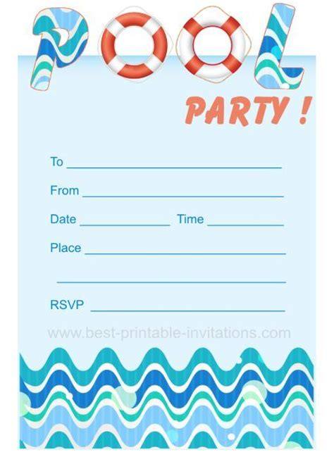 amscan templates for invitations pool party invites free printable kids party invites