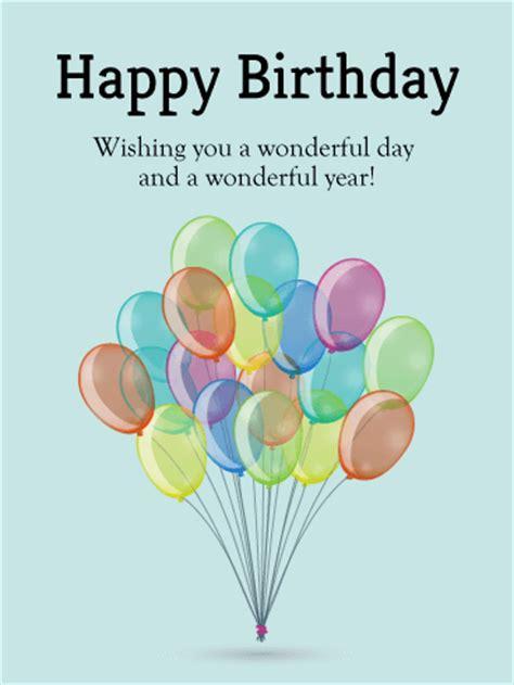 Happy Birthday Wish You A Wonderful Day Bundle Of Birthday Balloons Card Birthday Greeting