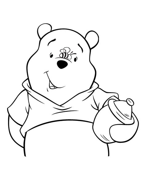 pooh bear coloring pages to print cute pooh bear with bee on nose coloring page h m