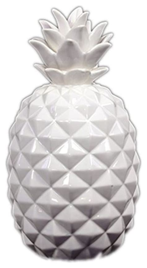 white ceramic pineapple contemporary decorative