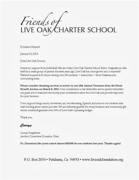 Request Letter Donation Sle Live Oak Leaflet January 2014