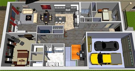 4 Bedroom Open Floor Plan by Two Cars Garage Bungalow Floor Plans Open Concept
