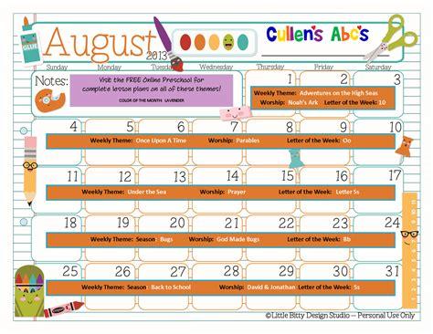 kindergarten themes for august preschool calendars online preschool and children s