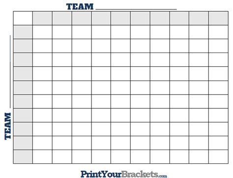 My Office Football Pool Football Squares Printable Square Grid Template