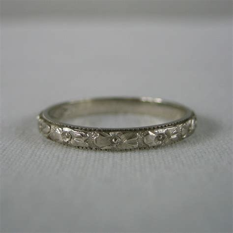 pattern gold wedding band wedding band orange blossom pattern floral etched 14 by