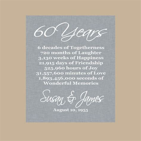60th Anniversary Gift, Diamond Anniversary, Personalized