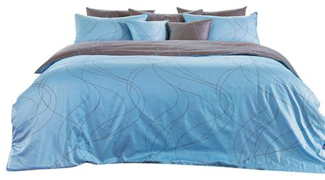 Blue And Brown Duvet Cover Modern Sky Blue And Brown Swirl Duvet Cover Set