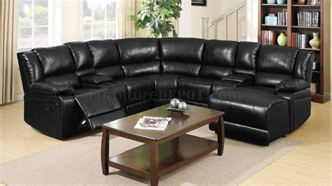black reclining sectional sofa 8300 reclining sectional sofa in black bonded leather w