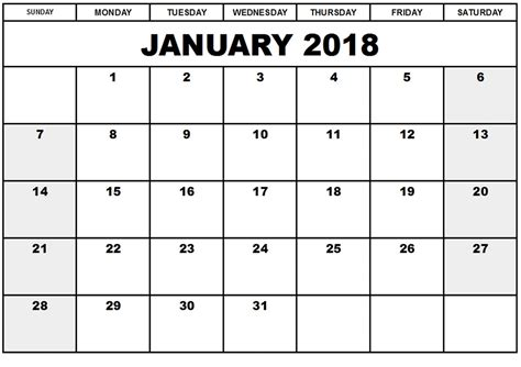printable calendar for january 2018 january 2018 calendar a4 printable